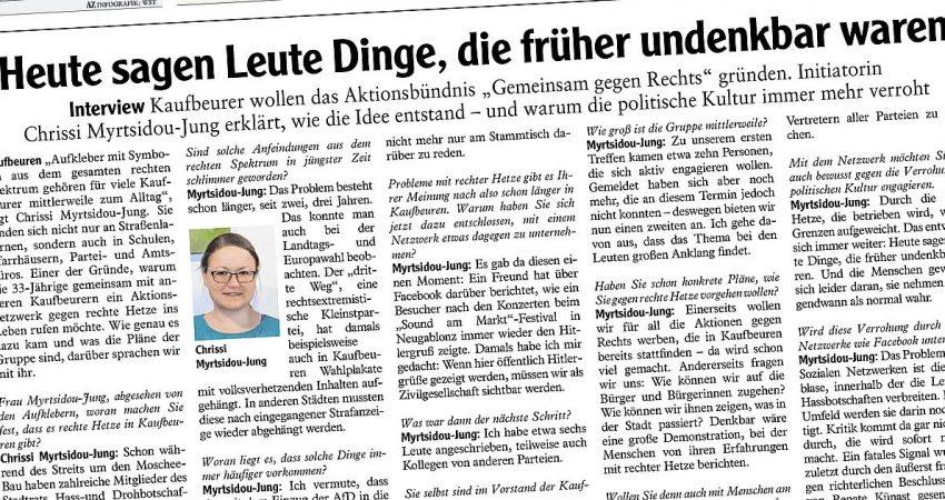 Chrissi Myrtsidou-Jung über Gemeinsam gegen Rechtsim Interview mit der Allgäuer Zeitung